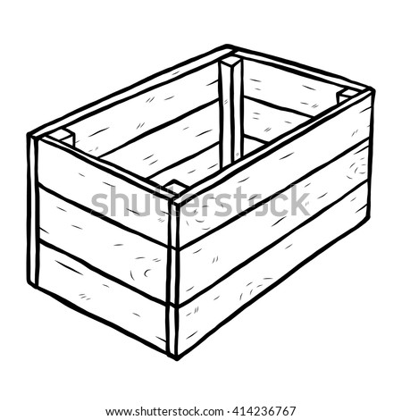 wooden box clipart. wooden box cartoon vector and illustration black white hand drawn sketch clipart