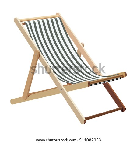 Wooden chaise lounge on a white background