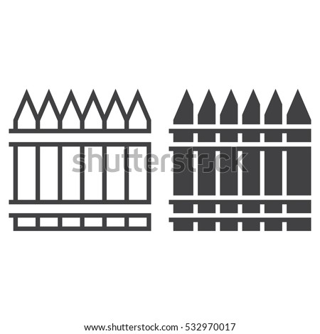 wooden fence line icon, railing outline and filled vector sign, linear and full pictogram isolated on white. Symbol,  logo illustration