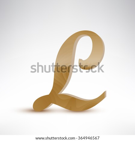 wooden letter l realistic vector illustration isolated wooden letter with reflection and shadow on white