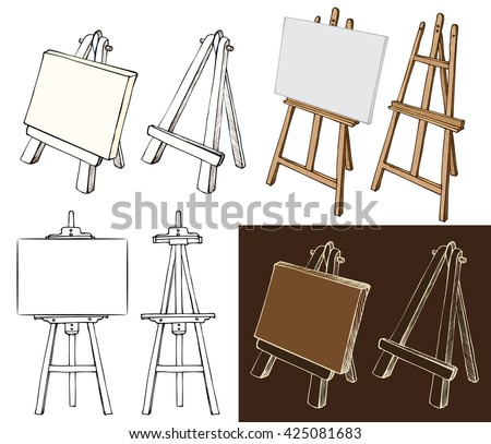Wooden painting easels set. Easel with blank canvas, cartoon easel, black and white and color easel, hand drawn sketch style easel isolated on white and dark background. Vector illustration.