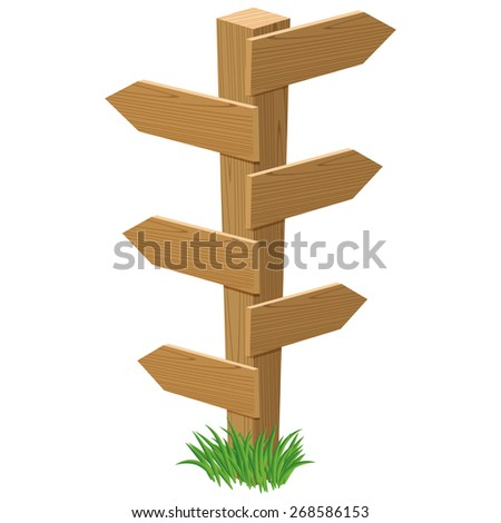 wooden road sign in cartoon style with empty tables which can be used for your own text