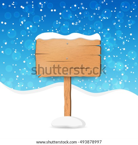 Wooden sign with snow. vector illustration
