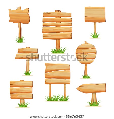 Wooden signpost standing in grass set isolated on white background vector illustration. Round, square and arrow shapes wooden blank sign board for message. Cartoon style wooden signpost collection