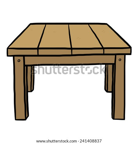 wooden table cartoon vector and hand drawn style isolated on white background
