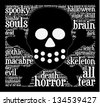 Word cloud in a shape of scull with dead terms. - stock photo