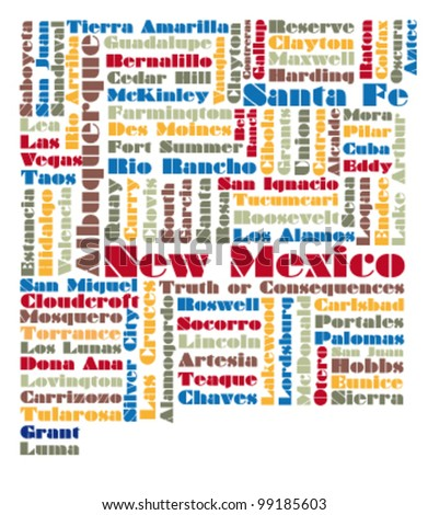 word cloud map of New Mexico state