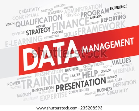 Word cloud of DATA Management related items, vector presentation background