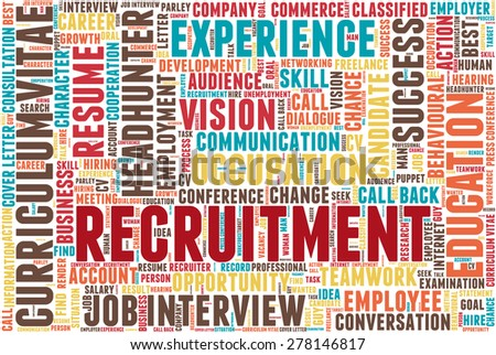 "Word cloud related to job interview, employment and recruitment. Word ""recruitment"" emphasized."