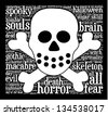 Word cloud with dead terms in a shape of skull. - stock photo