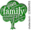 Word cloud with words related with family in a shape of tree. - stock vector