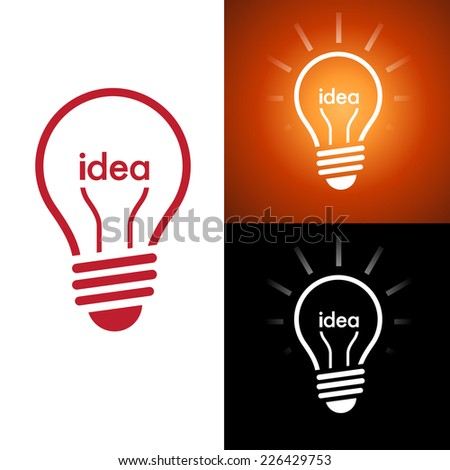 "Word ""idea"" inside a light bulb on a bright orange background with rays coming out"