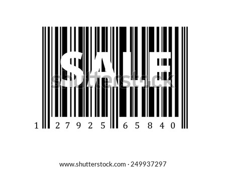 word sale at black and white bar code
