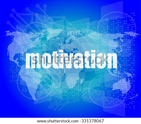 words motivation on digital screen, job and business concept vector illustration