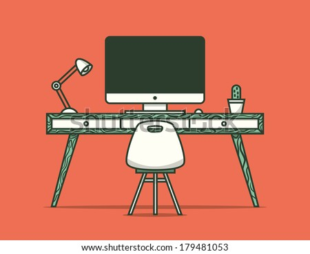 Workspace. Vector illustration.