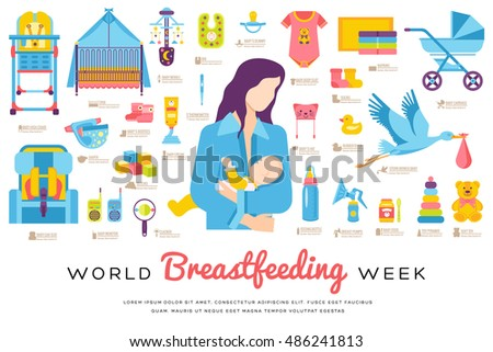 Breastfeeding week vector brochure cards thin stock vector for Breastfeeding brochure templates