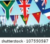 World bunting flags and crowd - stock photo