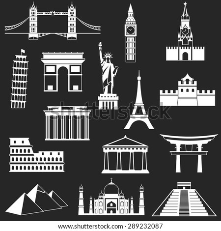 World famous buildings abstract silhouettes - vector illustration