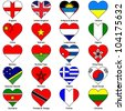 World Flags in Love Heart Shape - Pack 2 - stock vector