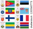 world flags of Eritrea, Estonia, Ethiopia, Fiji, Finland, France, Gabonese Republic and Gambia, with capitals, geographic coordinates and coat of arms, vector art illustration - stock photo