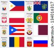 world flags of Philippines, Pitcairn Islands, Poland, Portugal, Puerto Rico, Qatar, Romania and Russian Federation, with capitals, geographic coordinates and coat of arms, vector art illustration - stock photo