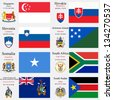 world flags of Singapore, Slovakia, Slovenia, Solomon Islands, Somalia, South Africa, South Georgia and the South Sandwich Islands and South Sudan, capitals, gps and coat of arms, art illustration - stock photo