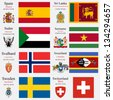 world flags of Spain, Sri Lanka, Sudan, Suriname, Svalbard, Swaziland, Sweden and Swiss Confederation, with capitals, geographic coordinates and coat of arms, vector art illustration - stock photo