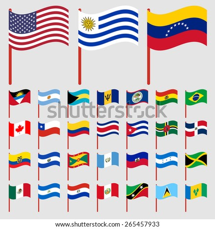 World flags on red pole Part 1/6 North and South America