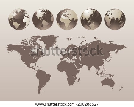 World Globe Set - Vector illustration