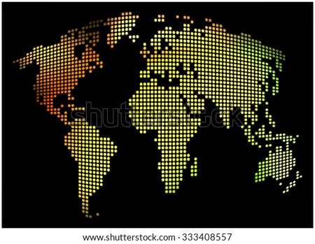 World map - abstract dotted vector background.  Colorful illustration - yellow, orange, green.