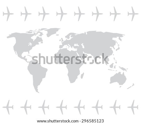 World map and plane or aircraft in vector