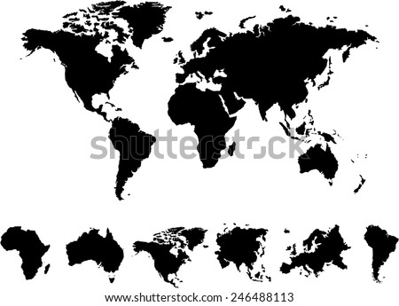 Black silhouette isolated world map focused vectores en stock world map 6 continents vector on white background gumiabroncs Images