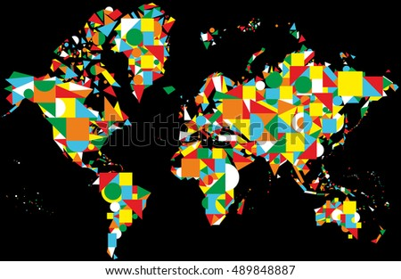 World map design on the black background