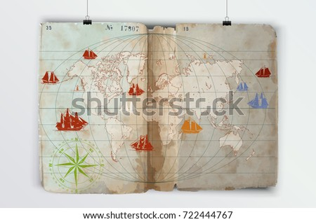 Hand drawn vector world map compass vectores en stock 688216144 world map drawn on a very old paper poster suspended on the wall using pegs gumiabroncs Gallery