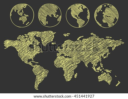 World map drawn. Vector illustration.
