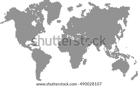 world map fill with dots, vector background