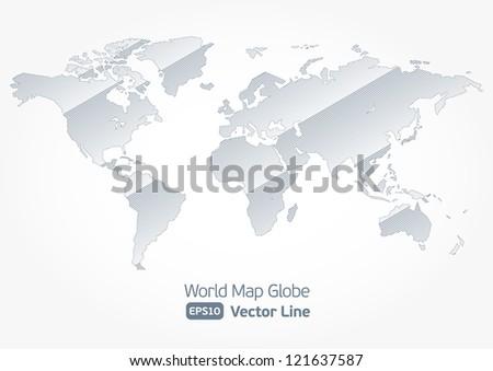 World map flat styleearthgloberoute planning asiaafricanorth world map globe vector line illustration kart stylized light eps 10 gumiabroncs Gallery