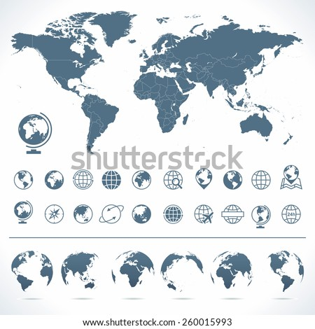 Political grayscale world map vector illustration vectores en stock world map globes icons and symbols illustration vector set of world map and globes gumiabroncs Image collections