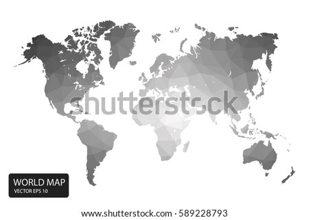 Highly detailed world map labeling grayscale stock vector world map gray vector illustration in polygonal style on white background vector illustration eps 10 gumiabroncs Image collections