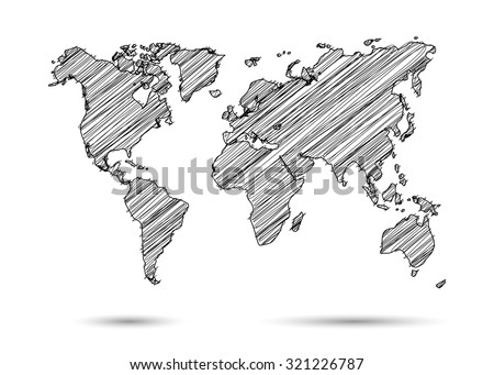 world map hand draw