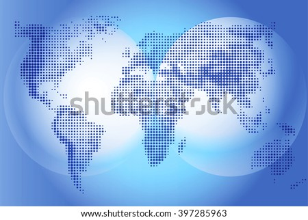 World map Illustration on blue background, geography. Continents and world ocean. Globe world vector detailed maps. Vector graphics for design projects and presentations, informative scoreboard.