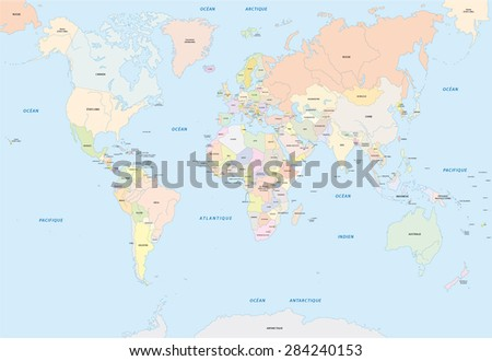 World map french language stock vector 284240153 shutterstock world map in french language gumiabroncs Images