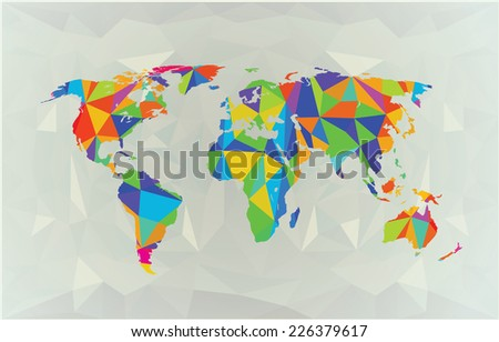 World map illustration polygonal triangle geometric stock world map in polygonal style color on white political map gumiabroncs Gallery