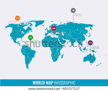 World map infographic template all countries stock vector world map infographic template vector gumiabroncs Choice Image