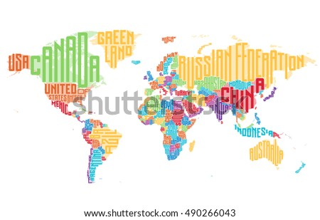 World map made of typographic country names. Vector illustration.