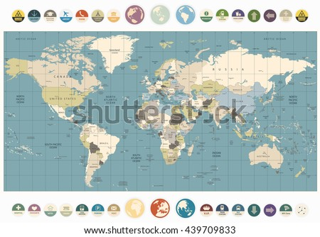 America centered world map flat icons vectores en stock 531921793 world map old colors illustration with round flat icons and globes all elements are separated gumiabroncs Choice Image
