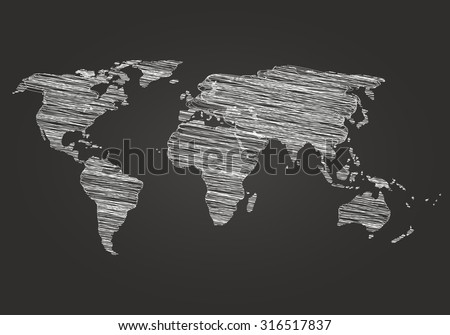 World map on a dark background hatching. Vector illustration. Map drawn in chalk on a blackboard. World map Detail Vector Line sketch