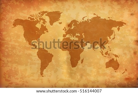 World Map on Grunge Background (Vector)