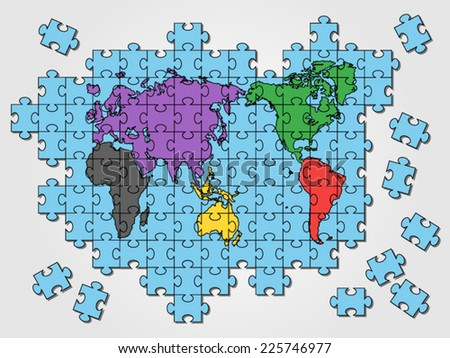 World map jigsaw layered fully editable stock vector 30688270 world map puzzle gumiabroncs Choice Image
