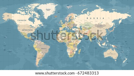 World Map Vector High Detailed Illustration Stock Vector 672483313